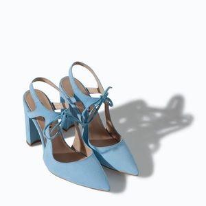NWT Zara blue heels
